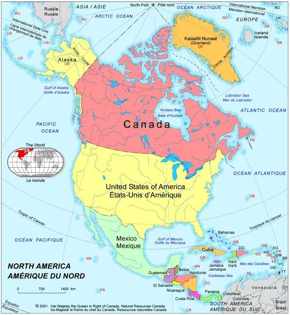 Amérique du nord : carte de l'Amérique du nord et Centrale, toutes ...